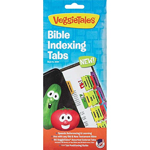 Veggie Tales Multicolored Adhesive Quick Reference Old and New Testament Bible Indexing Tabs