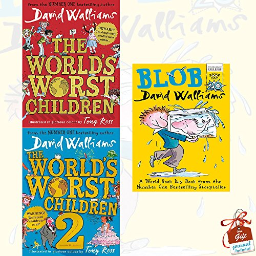 David Walliams World's Worst Children Collection 3 Books Set With Gift Journal (Blob [Paperback], The World's Worst Children, The World's Worst Children 2)