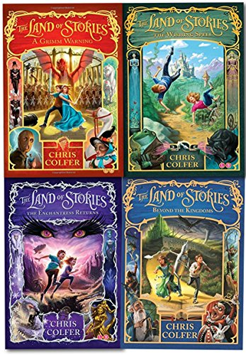 Land of Stories Chris Colfer Collection 4 Books Set (Wishing Spell, Grim Warning, Enchantress Returns)