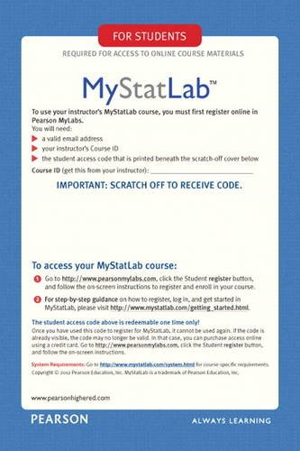 My Statlab Glue-In Access Card by Pearson Education, ISBN: 9780321847997