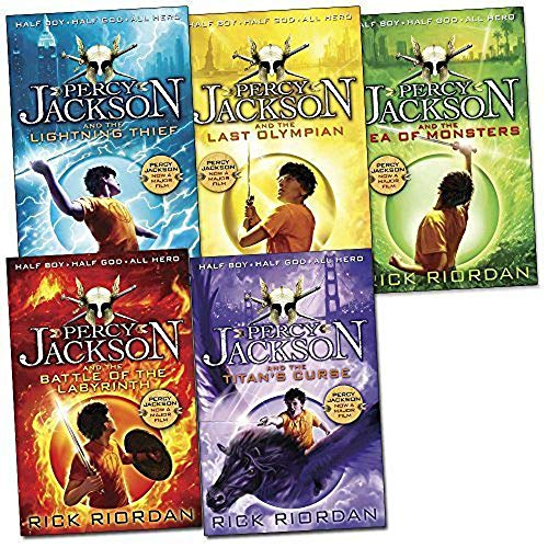 Percy Jackson Pack, 5 books, RRP £34.95 (Battle Of The Labyrinth; LightningThief; Last Olympian; Sea of Monsters; Titan's Curse). (Colour Young Puffin) by Rick Riordan, ISBN: 9780141362694