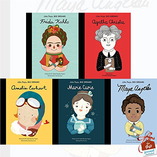 Little People, Big Dreams Collection 5 Books Bundle With Gift Journal (Maya Angelou, Marie Curie, Amelia Earhart, Frida Kahlo, Agatha Christie)
