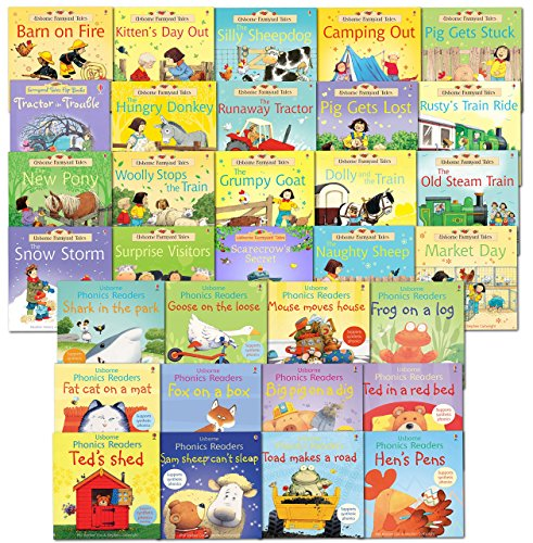 Usborne Early School Reading Children 32 Books Collection Set Farmyard Tales, Phonics young Readers