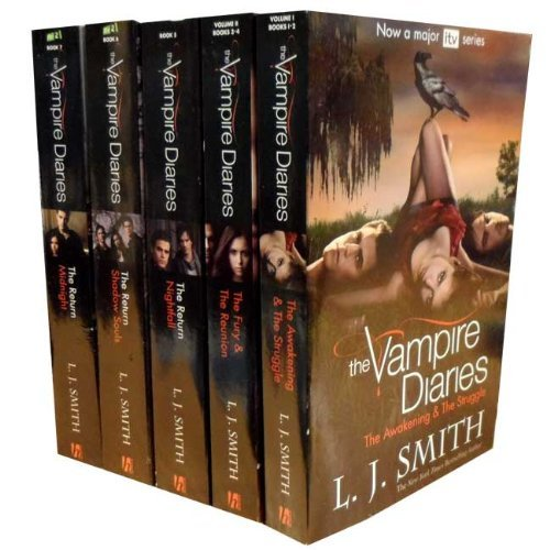 The Vampire Diaries Story Collection L J Smith 7 Titles in 5 Books Set TV Tie Edition (ITV 2 TV Series) (The Awakening, The Struggle, The Fury, The Reunion, Nightfall, Shadow Souls, Midnight)