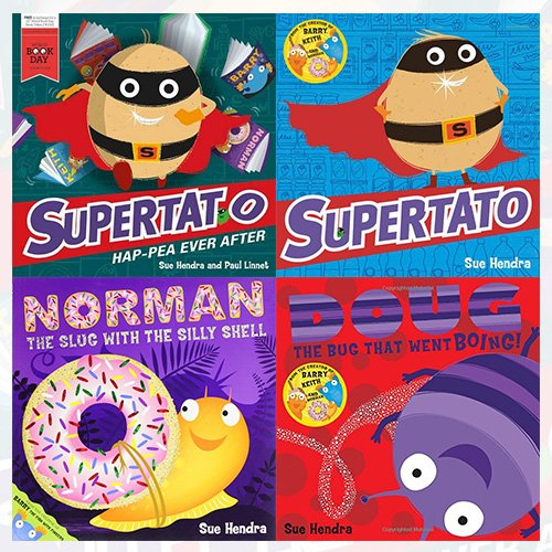 Sue Hendra Collection 4 Books Bundle (Supertato Hap-pea Ever After: A World Book Day Book,Supertato,Norman the Slug with a Silly Shell,Doug the Bug)