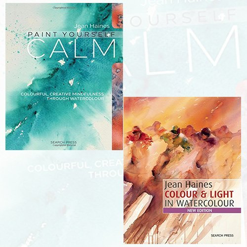 Jean Haines Collection 2 Books Bundle (Paint Yourself Calm: Colourful, Creative Mindfulness Through Watercolour, Colour & Light in Watercolour)
