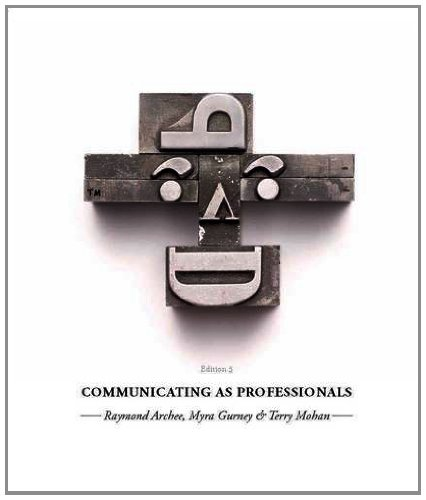 Communicating as Professionals by Ray Archee, ISBN: 9780170214971