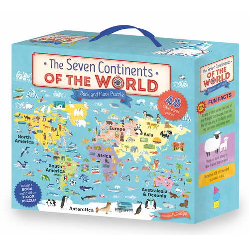 The Seven Continents of the World Book and Floor Puzzle