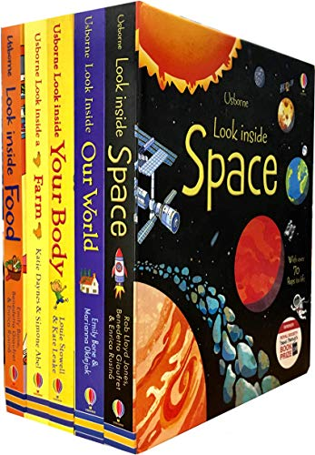 Usborne Look Inside Collection 5 Books Set (Look Inside Space, Look Inside Farm, Look Inside Science, Look Inside Food, Look Inside Your Body)