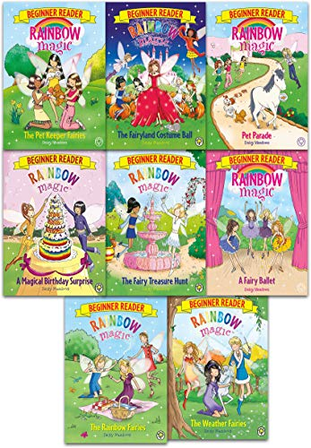 Rainbow Magic Beginner Reader Series Collection 8 Books Set By Daisy Meadows (The Rainbow Fairies, The Weather Fairies, A Magical Birthday Surprise, The Fairy Treasure Hunt, The Fairyland Costume Ball, The Pet Keeper Fairies, A Fairy Ballet, Pet Parade)