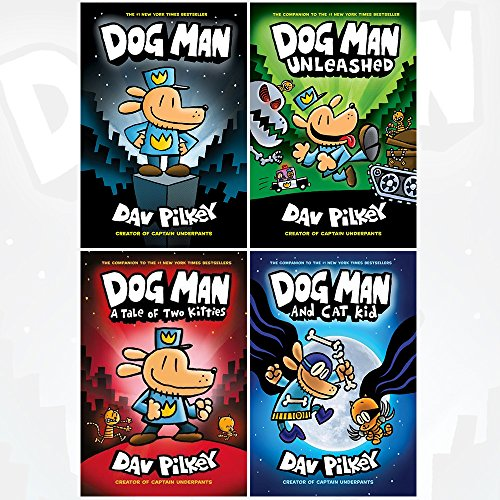 Dog Man Dav Pilkey Collection 4 Books Set (Dog Man, Unleashed, A Tale of Two Kitties, Dog Man and Cat Kid)