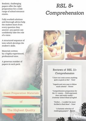 RSL 8+ Comprehension: Practice Papers with Detailed Answers and Question-by-Question Feedback for 8 Plus English