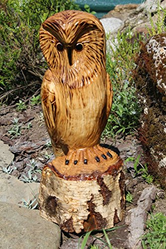 Garden Decor Sculpture Carved Wooden Owl