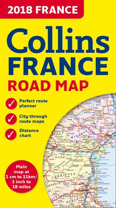 2018 Collins Map Of France [New Edition] by Collins Maps, ISBN: 9780008262532