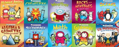 Basher Science Basics 10 Book Learning Library (Basher Human Body, Chemistry, Weather, Rocks & Minerals, Oceans, Algebra & Geometry, Technol