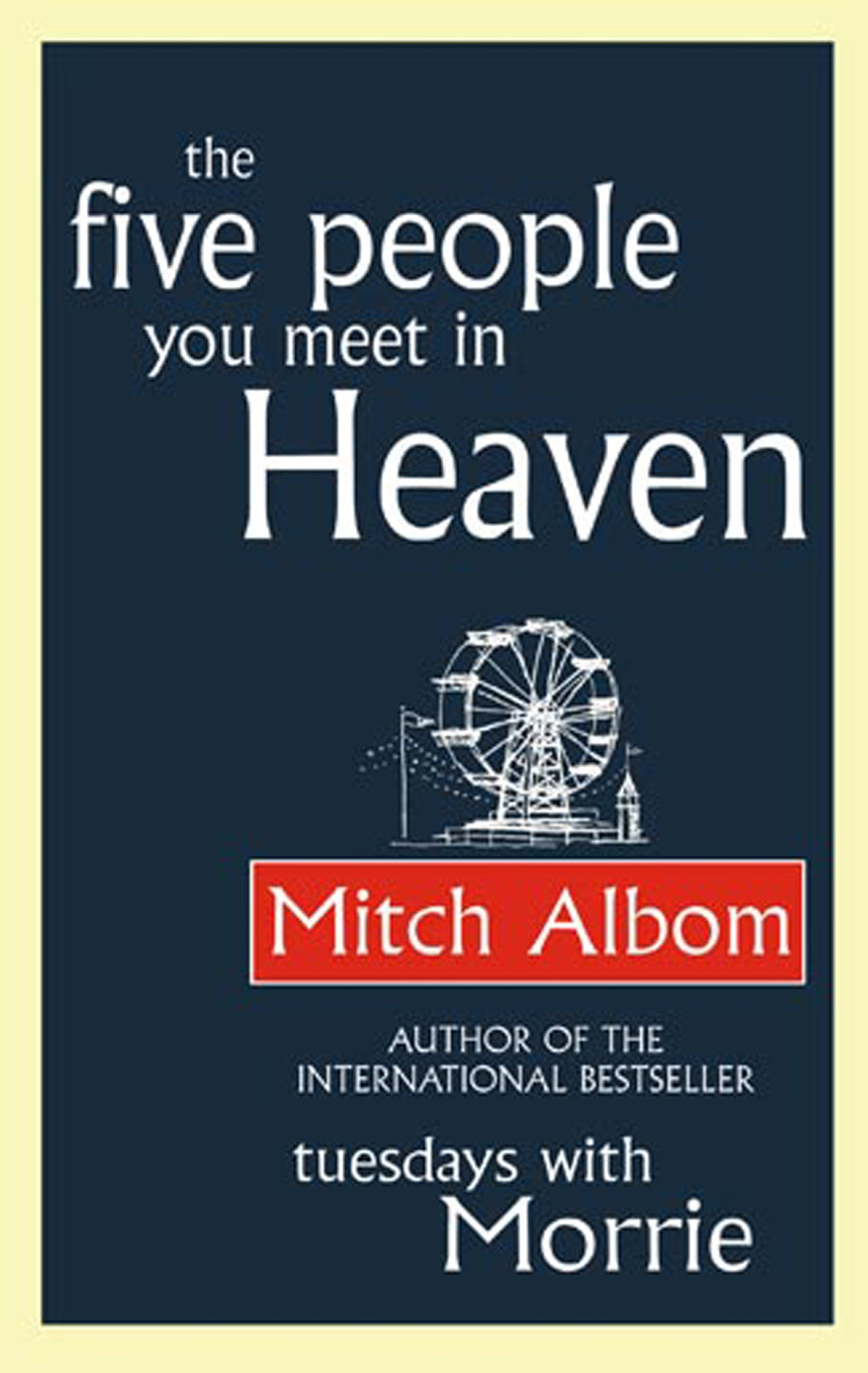 the characters of the novel the five people you meet in heaven by mitch albom Fifteen years ago, in mitch albom's beloved novel, the five people you meet in heaven, the world fell in love with eddie, a grizzled war veteran- turned-amusement park mechanic who died saving the life of a young girl named annie.