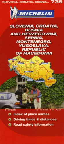Michelin Slovenia, Croatia, Bosnia and Herzegovina, Serbia, Montenegro, Yugoslava, Republic of Macedonia Map