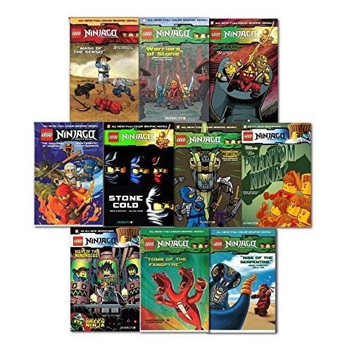 Lego Ninjago Graphic Novel Collection 10 Books Set Pack By Greg Farshtey, (The Phantom Ninja, Night of the Nindroids, Destiny of Doom,Stone Cold,Warriors of Stone, Kingdom of the Snakes!, The Challenge of Samuka!, Mask of the Sense!, Tomb of the Fang by Greg Farshtey, ISBN: 9786544556487