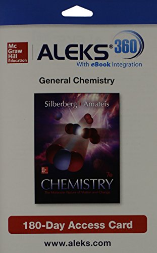 Aleks 360 Access Card (1 Semester) for Chemistry: The Molecular Nature of Matter by Martin Silberberg, ISBN: 9781259206740