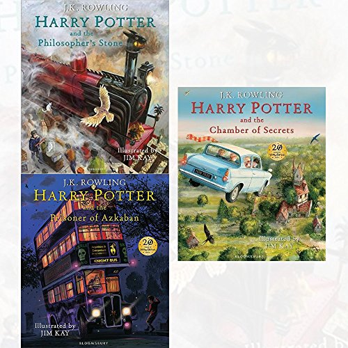 harry potter illustrated edition 3 books collection set (harry potter and the philosopher's stone, harry potter and the prisoner of azkaban, harry potter and the chamber of secrets)