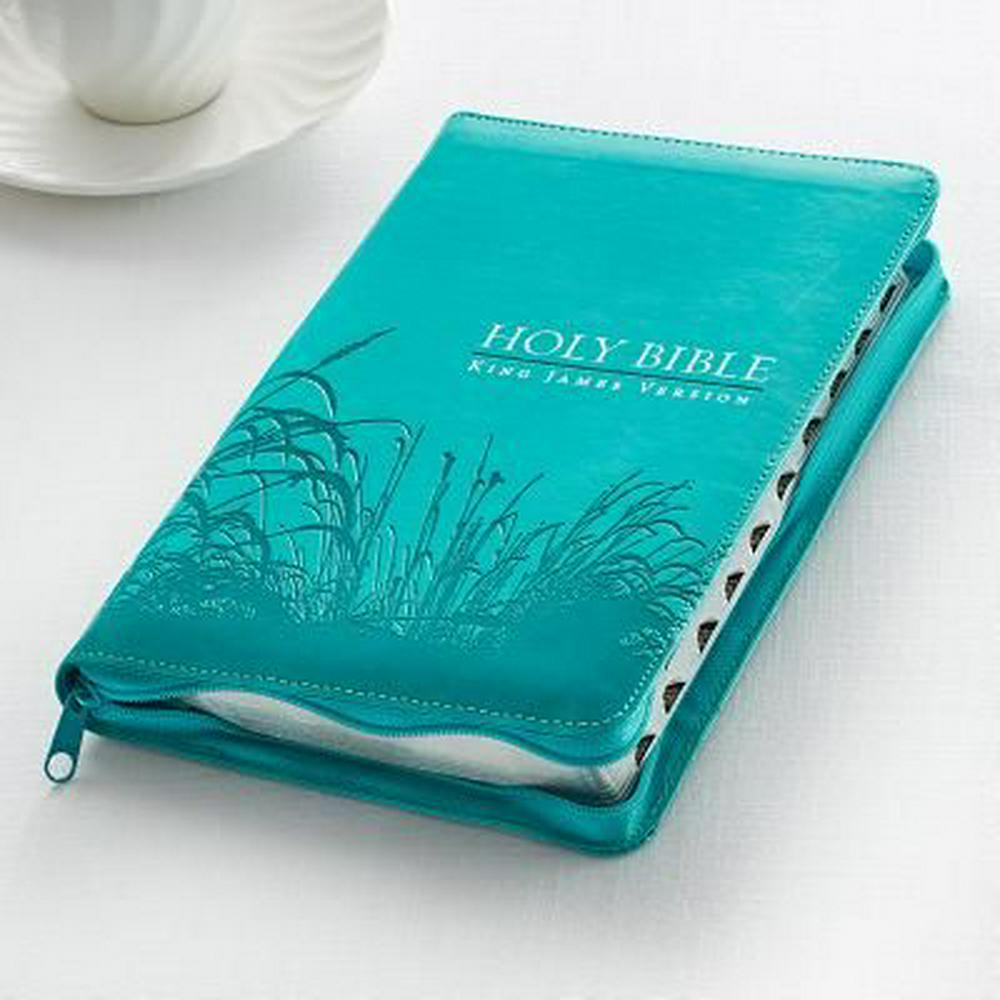 Holy Bible: KJV Standard Size Thumb Index Edition: Zippered Turquoise (King James Bible)