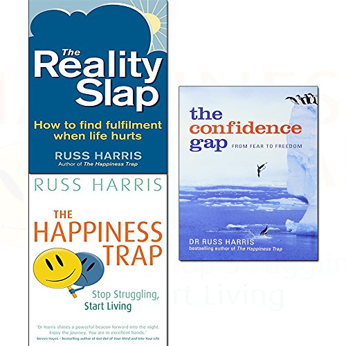 Russ harris happiness trap,reality slap,confidence gap 3 books collection set