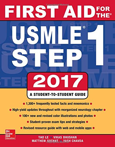 First Aid for the USMLE Step 1 2017First Aid by Tao Le,Vikas Bhushan, ISBN: 9781259837630