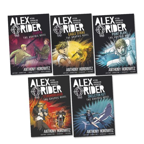 Alex Rider Graphic Novels Pack, 5 books, RRP £59.95 (Eagle Strike; Point Blanc; Scorpia; Skeleton Key; Stormbreaker). by Anthony Horowitz, ISBN: 9789999512794