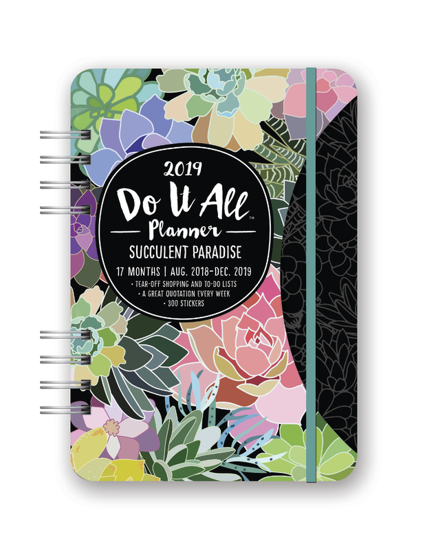 Orange Circle Studio 2019 Do It All Planner, August 2018 - December 2019, Succulent Paradise