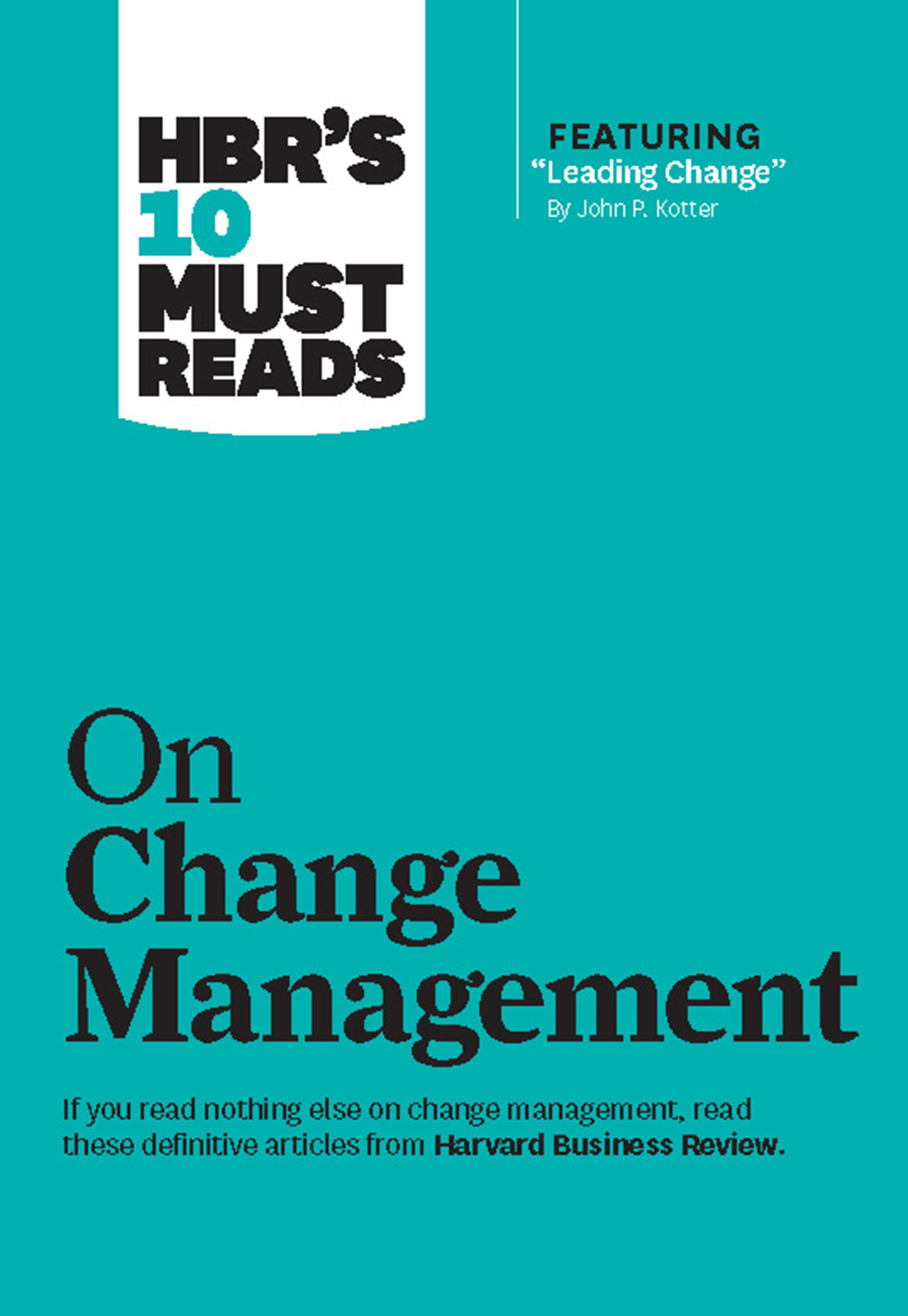 change management book review Change management, which is the term most everyone uses, refers to a set of basic tools or structures intended to keep any change effort under control the goal is often to minimize the.
