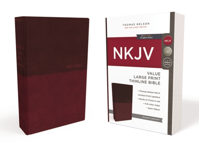 NKJV, Value Thinline Bible, Large Print, Imitation Leather, Burgundy, Red Letter Edition, Comfort Print by Thomas Nelson, ISBN: 9780718075606