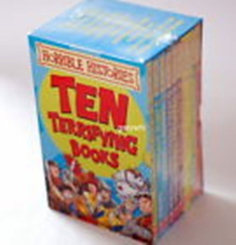 Horrible Histories 10 book box set -  Ruthless Romans, Awful Egyptians, Groovy Greeks, Measly Middle Ages, Terrifying Tudors, Slimy Stuarts, Gorgeous Georgians, Vile Victorians, Frightful First World War, Woeful Second World War  Terrifying Books
