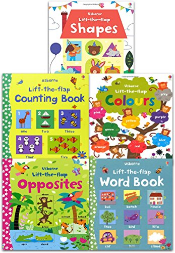 Usborne Lift the Flap Collection 5 Books Set (Usborne Lift-the-Flap-Books) (Lift the Flap Word Book, Lift the Flap Colours Book, Lift the Flap Shapes, Lift the Flap Opposites, Lift the Flap Counting Book)