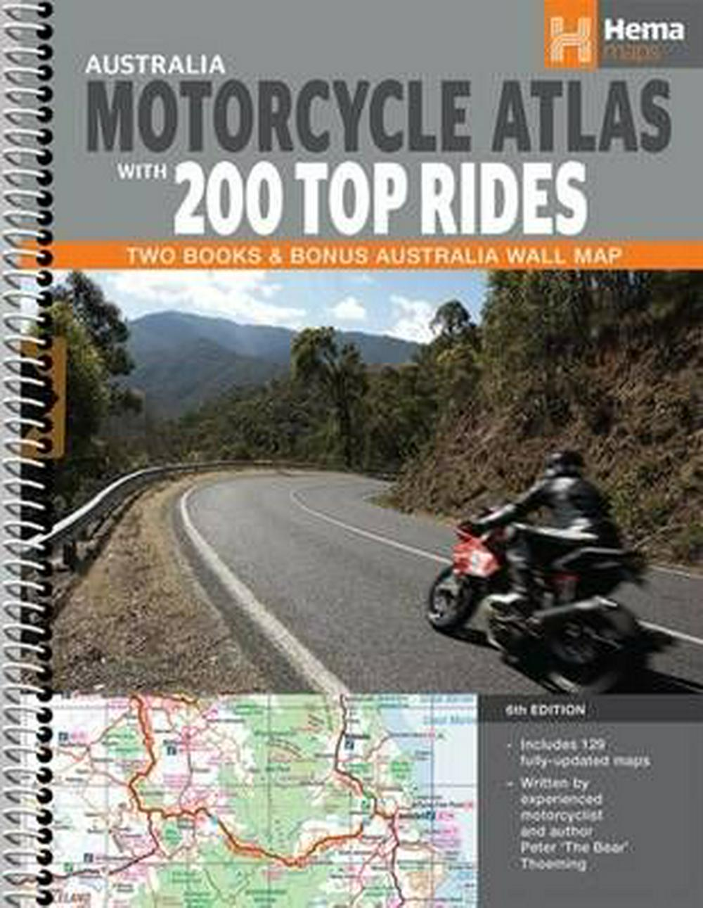 Hema : Australia Motorcycle Atlas + 200 Top RidesTwo Books & Bonus Australia Wall Map : 6th Edition