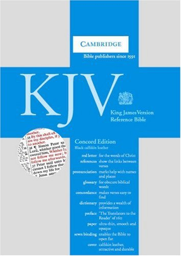 KJV Concord Reference Edition Red Letter with Concordance and Dictionary Black calfskin leather RCD267: Authorized King James Version Concord Reference Bible with Concordance, Dictionary and Family Record by Cambridge University Press, ISBN: 9780521164382