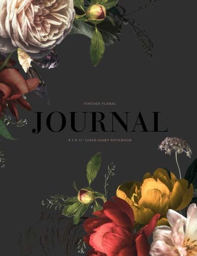 """Vintage Floral Journal 8.5 x 11"""" Lined Diary Notebook: Sumptuous Rich, Moody Flowers Softback Perfect Bound Note Book for Writing, Gratitude, Bible Verse, Scripture, Mindfulness Journaling, 108 Pages by Splendid Paper Co, ISBN: 9781726192187"""