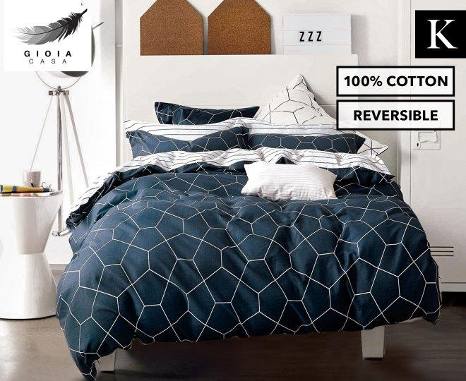 Gioia Casa Fred King Bed Quilt Cover Set - Dark Navy/White