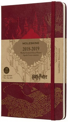 2019 Moleskine 18 Month Planner Limited Edition - Weekly, Harry Potter, Red, Large