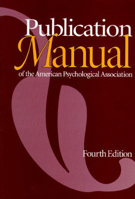 Publication Manual of the American Psychological Association, Fourth Edition by Morgan ones, ISBN: 9781557982414
