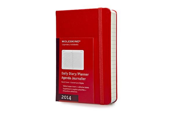 2014 Moleskine Red Pocket Daily Diary 12 Month Hard