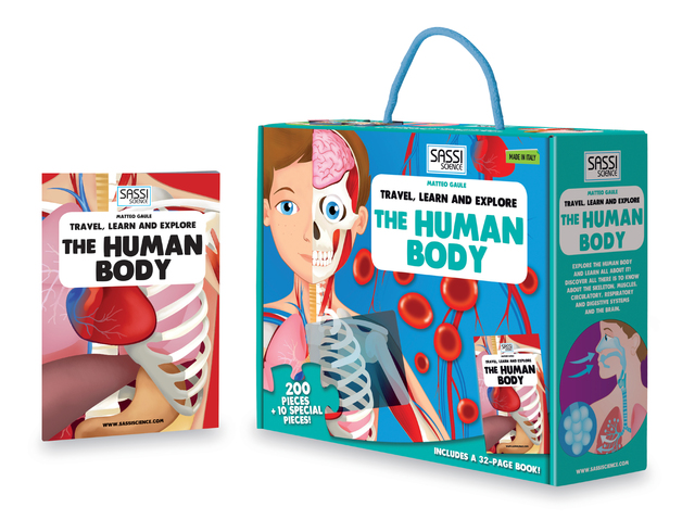 "Sassi ""The Human Body"" 200 pieces Puzzle and Book (Travel, Learn, & Explore) by Matteo Gaule, ISBN: 9788868601409"